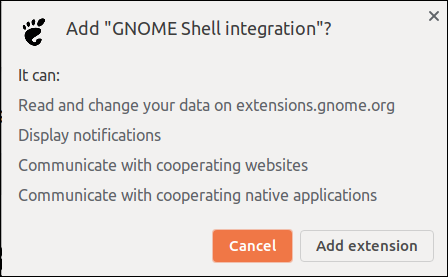 Confirm adding an extension to Chrome