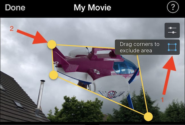 Tap the crop button and drag the corners to crop the image or video