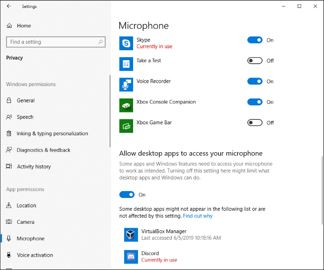 Which apps are currently using your mic in Windows 10's Settings app