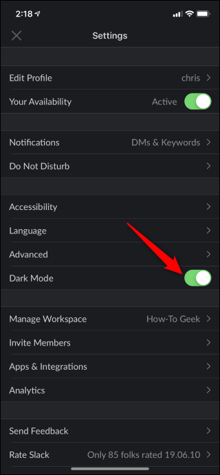 Option to enable Dark Mode enabled in Slack on iPhone