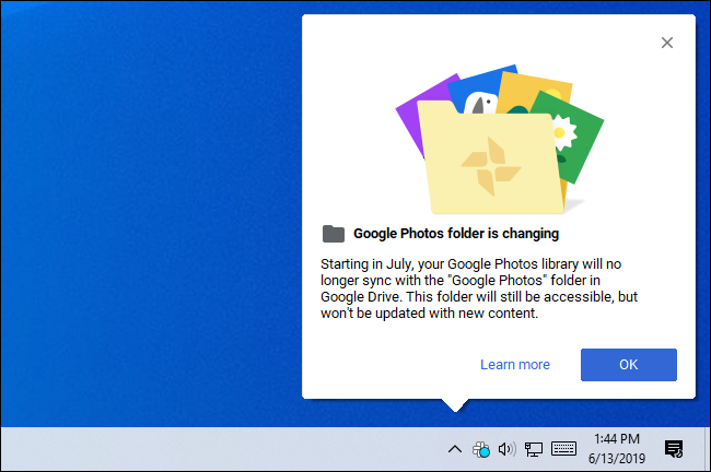 Google Photos folder is changing message from Google Backup and Sync