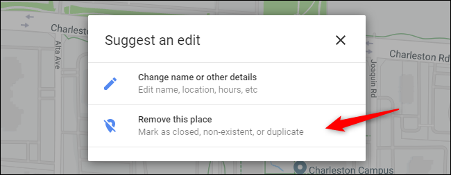 Option to remove a listing from Google Maps