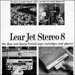 A 1960s era advertisement for the Lear Jet Stereo 8 sound system