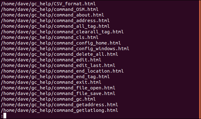 html file listing piped through less in a terminal window