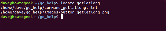 locate results with files containing getlatlong in a terminal window