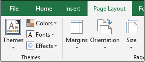 Themes on the Page Layout tab