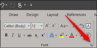 open dialog box icon in font group