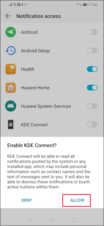Enable KDE Connect verification options