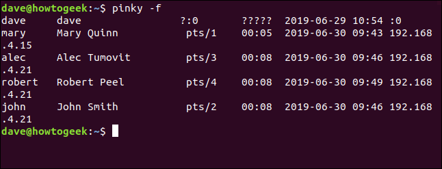 pinky output wioth no column headings in a terminal window