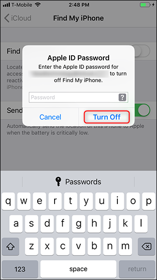Enter your password and tap Turn Off.
