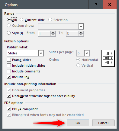 select pdf options
