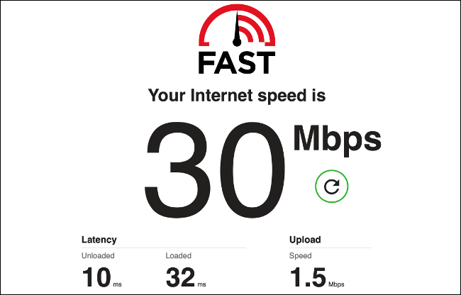 The results of an Internet Speed Test on Fast.com.