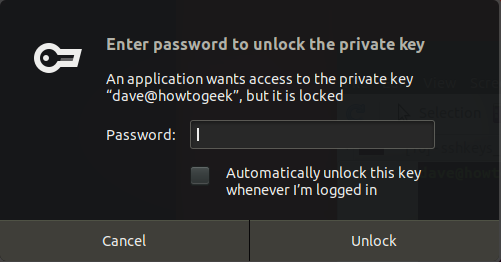 passphrase request dialog box