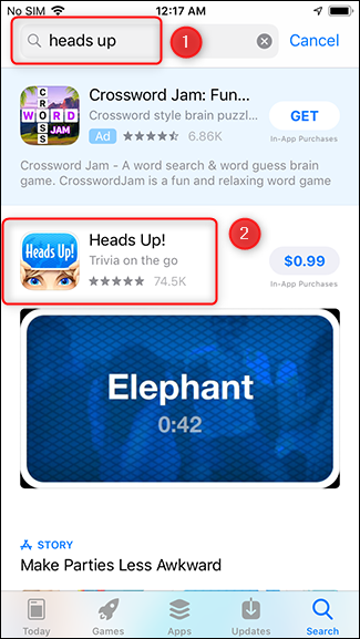 Search for the app you want to give.