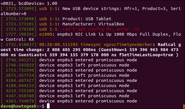 Output from dmesg in a terminal window