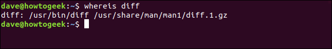 whereis resuts for diff in a terminal window