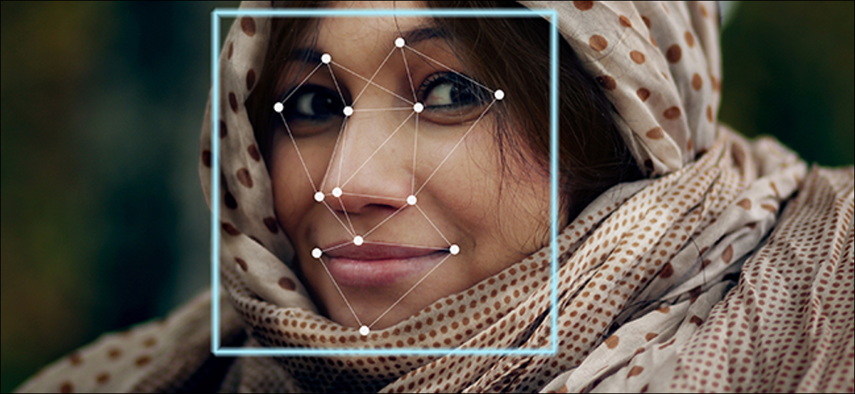A woman's face outlined with a grid. This grid is used to identify her face.