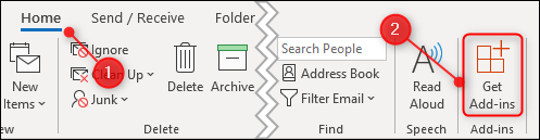"""The Home tab with the """"Get Add-ins"""" button highlighted"""