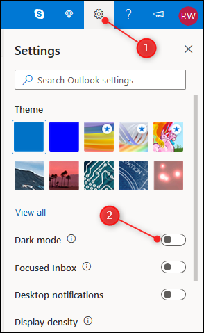"The Outlook Settings panel with the ""Dark mode"" toggle highlighted."