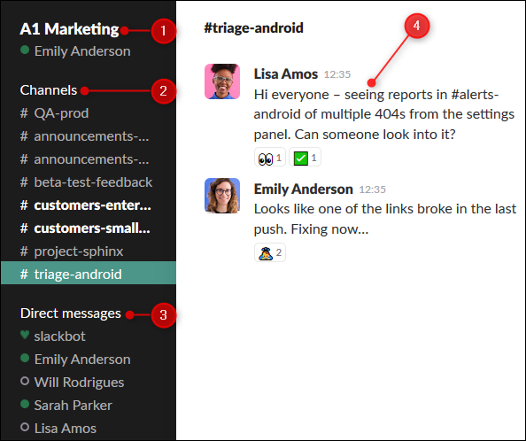 The Slack interface with the instance name, list of channels and DMs, and the chat window