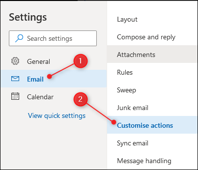 "The Email menu with the ""Customise actions"" action highlighted"