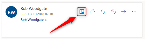 An email with the Trello action visible