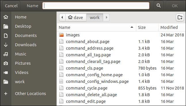 zenity file save dialog window.