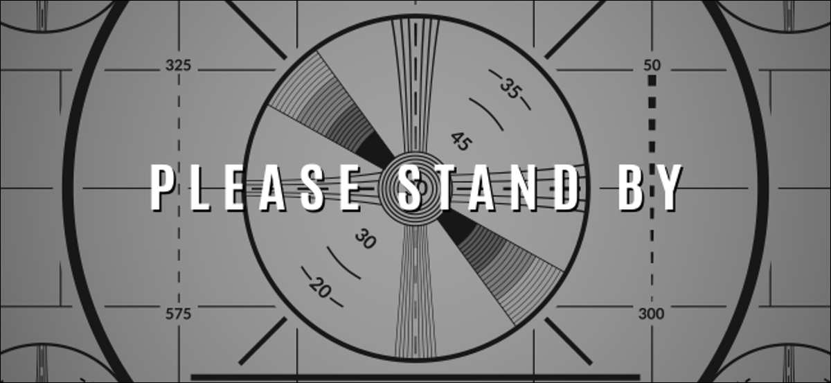 """A vintage TV test screen that says, """"PLEASE STAND BY!"""""""