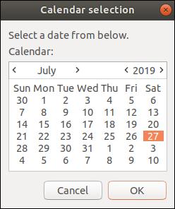 Una ventana de calendario zenity de julio de 2019.