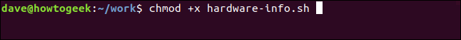 """chmod + x haredware-info.sh en una"" ventana de terminal."