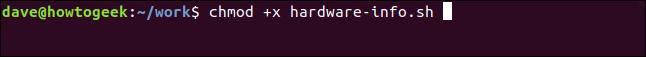 """chmod +x haredware-info.sh in a"" terminal window."