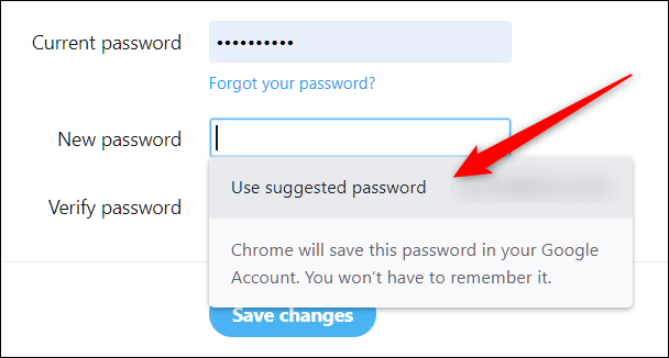 """Click """"Use Suggested Password"""" to change or reset an existing password on any account."""