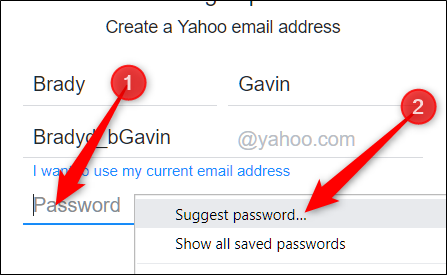 "Right-click the empty password field, and then click ""Suggest Password."""