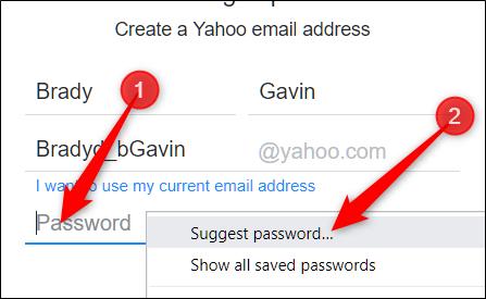 """Haga clic con el botón derecho en el campo de contraseña vacío y luego haga clic en """"Sugerir contraseña""""."""