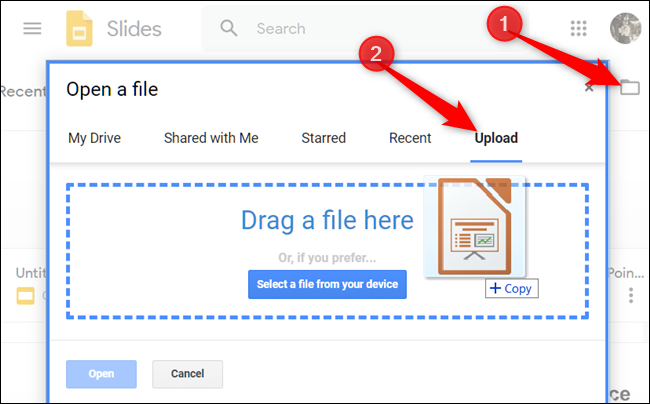Click the folder icon in the top corner, click the Upload tab, and then drag a file from your computer into the window.