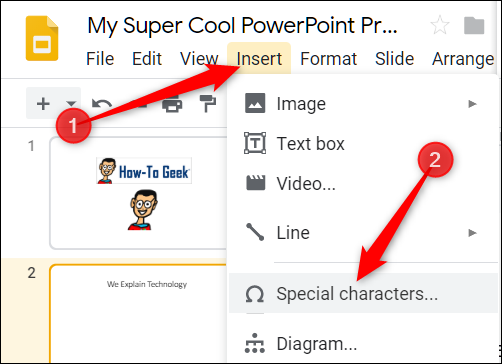 """Click """"Insert,"""" and then click """"Special Characters."""""""