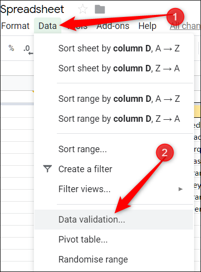 Click Data, and then click Data Validation.