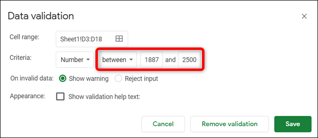 Click the type of validation you want to use, and then type the range.
