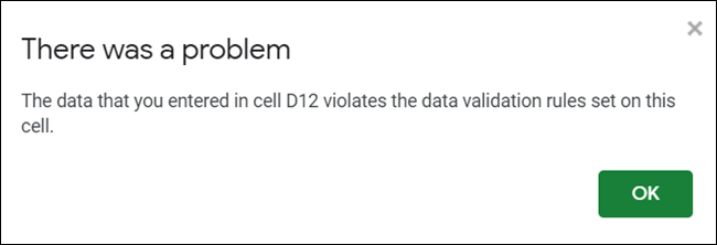 Error message displayed when invalid data is typed.