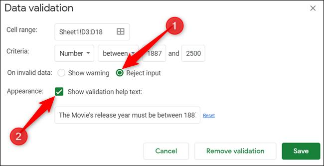 """Haga clic en """"Rechazar entrada"""" y luego haga clic en """"Mostrar texto de ayuda de validación"""".  Escriba su mensaje de error preferido."""
