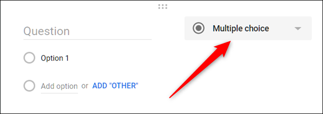 Click the drop-down box next to the Question field.
