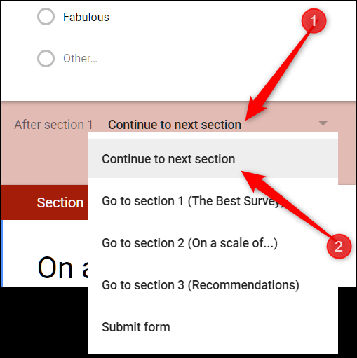 Click the drop-down menu and select where the form should send people after they complete the section.