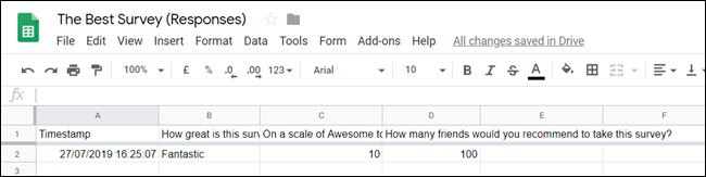 A spreadsheet in Google Sheets showing a response to a question a survey.
