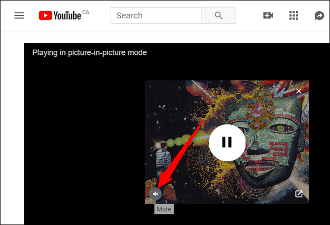 Hover the mouse cursor over the video, and then click on the speaker icon to mute the video