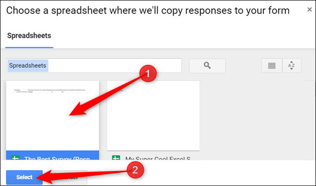 """Click on the spreadsheet you want, and then click """"Select."""""""