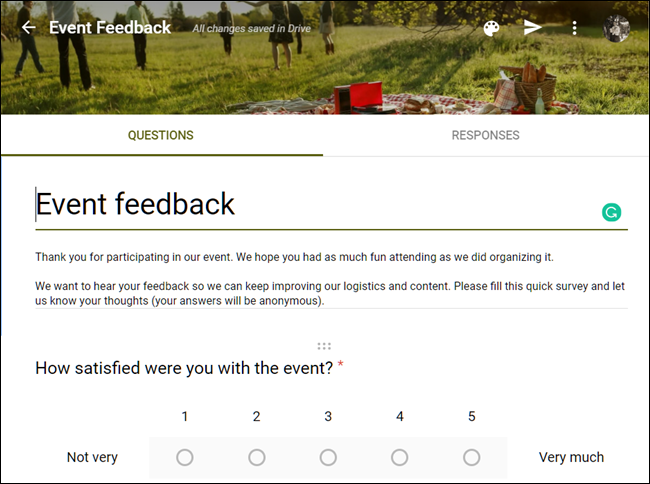 An example of an Event feedback template on Google Forms.