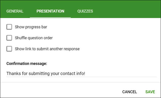 The Presentation tab in Settings.