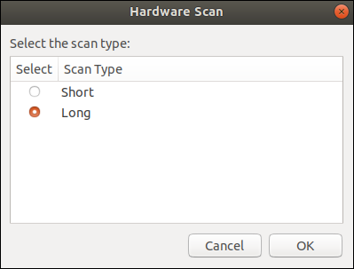"List dialog box with the ""Long"" option selected."