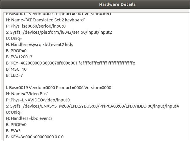 Información de escaneo de hardware en una ventana de diálogo de información de texto.