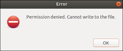 zenity error dialog window.
